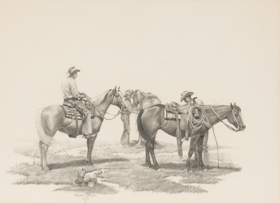 Wayne Baize (b. 1943), Cowboys, 1970, pencil on paper
