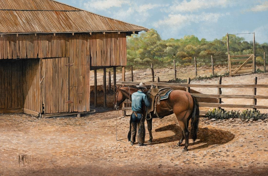 Arthur McCall, Cowboy at the Corral, oil on board