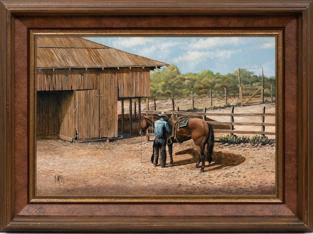 Arthur McCall, Cowboy at the Corral, oil on board - 2