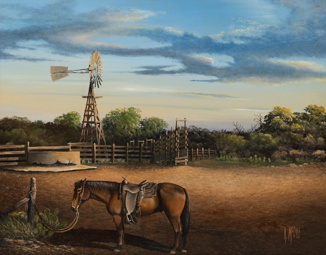 Arthur McCall, Horse and Windmill, oil on canvas