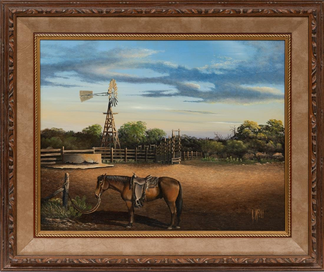 Arthur McCall, Horse and Windmill, oil on canvas - 2