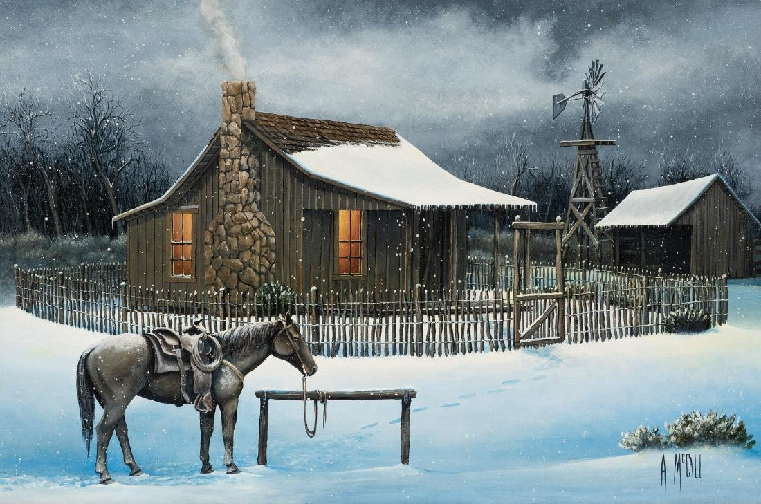 Arthur McCall, Winter at the Ranch, oil on board