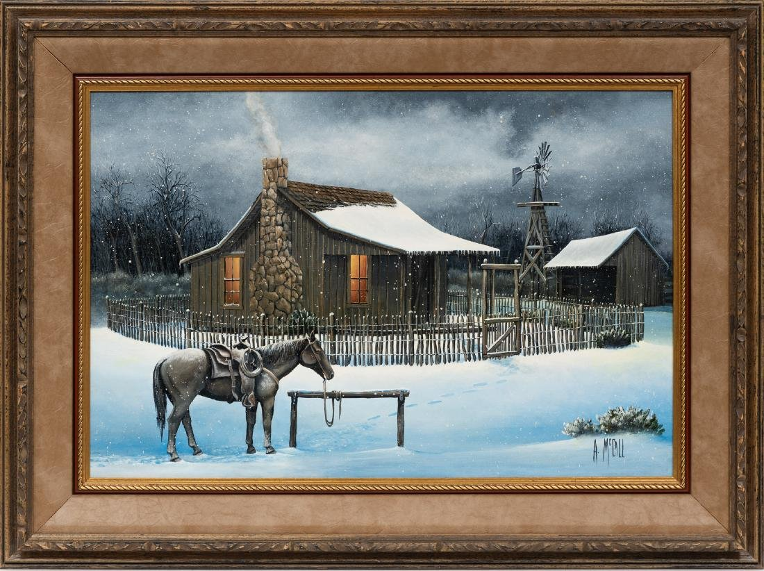 Arthur McCall, Winter at the Ranch, oil on board - 2