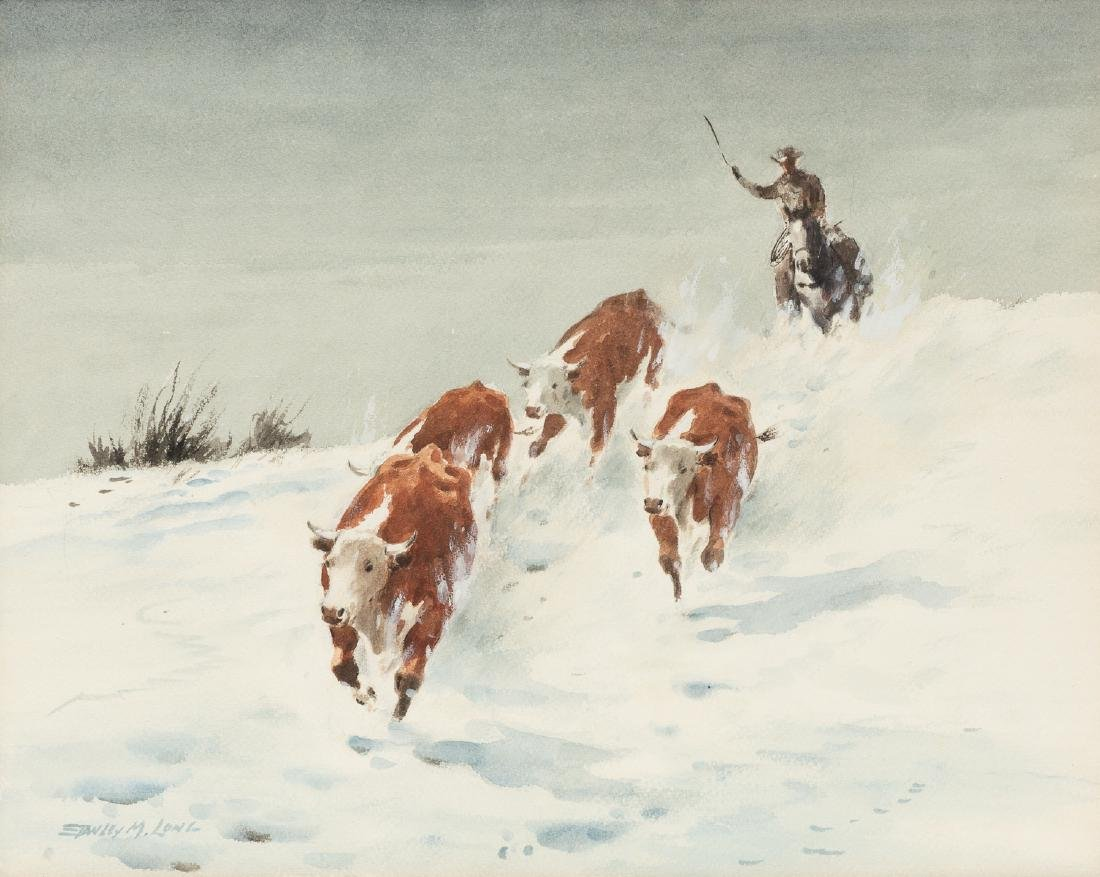 Stanley Long (1892-1972), Snowy Roundup, watercolor,