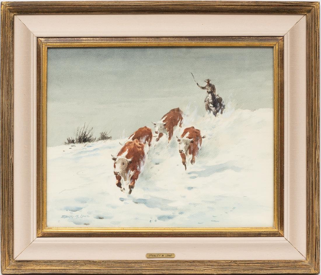 Stanley Long (1892-1972), Snowy Roundup, watercolor, - 2