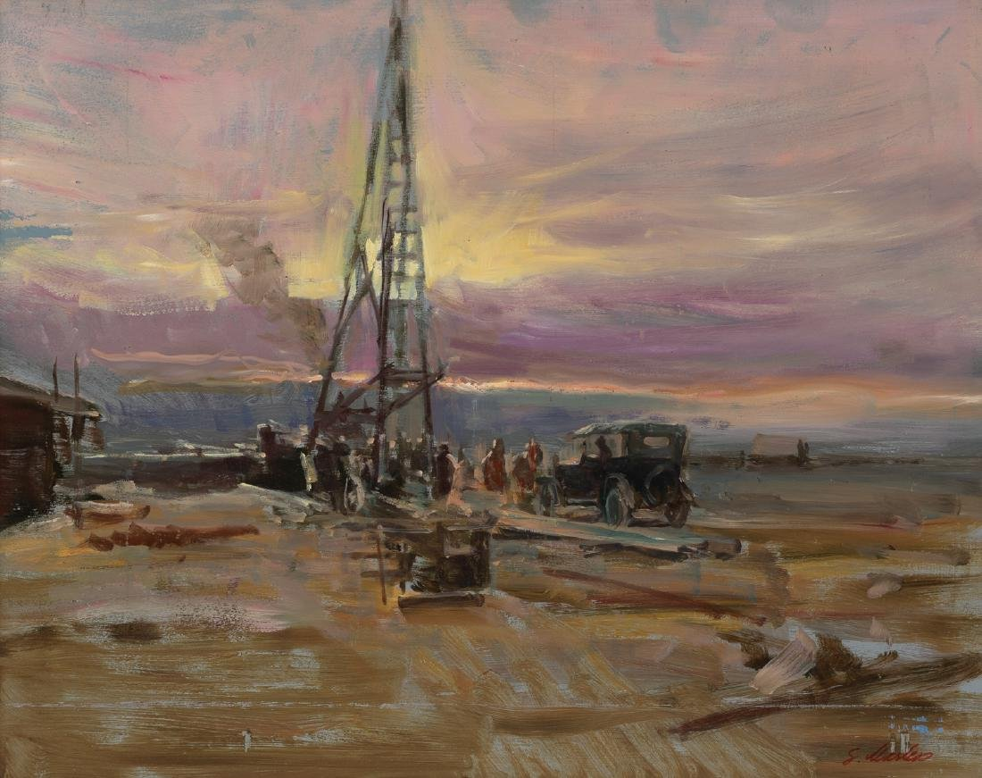 "Lajos Markos (1917-1993), ""Setting a Rig"", oil"