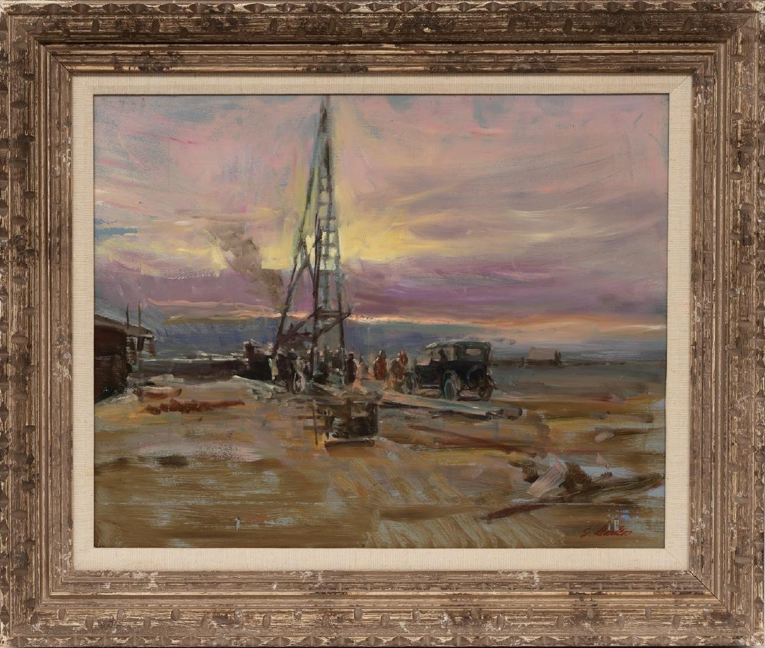 "Lajos Markos (1917-1993), ""Setting a Rig"", oil - 2"
