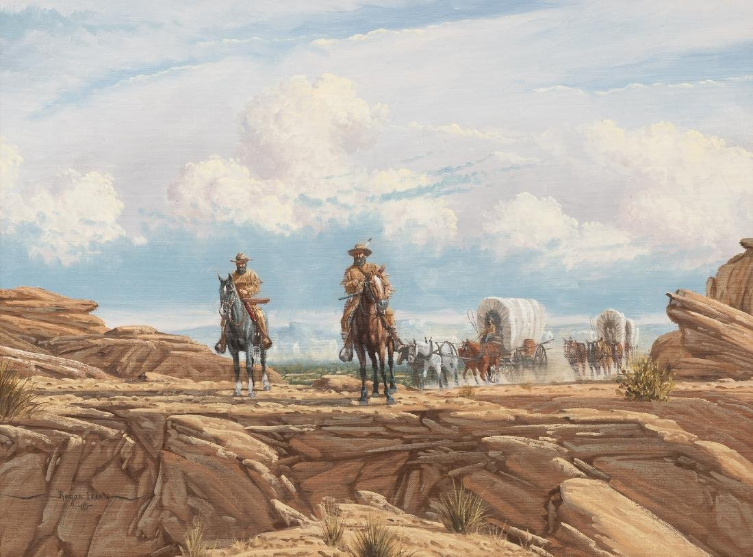 "Roger Iker, Wagon Train, oil on canvas, 18 x 24.5"""