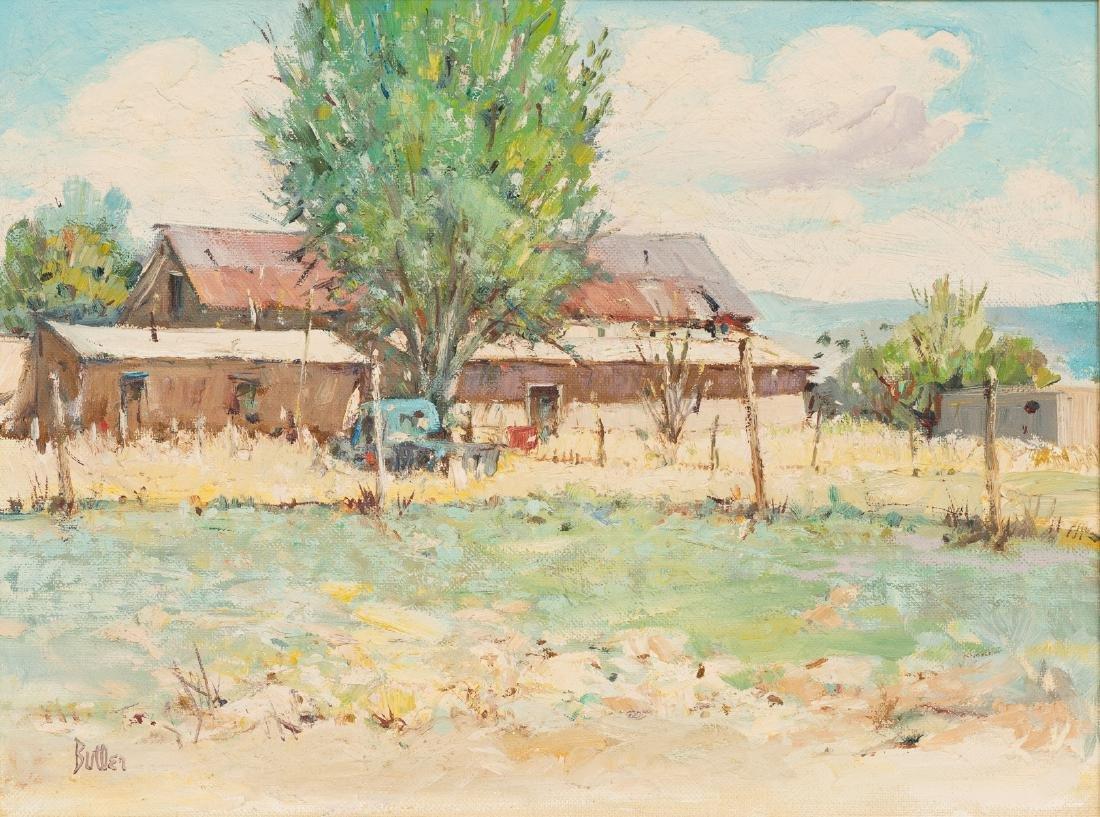 James Butler (b. 1925), House at Nambe, oil