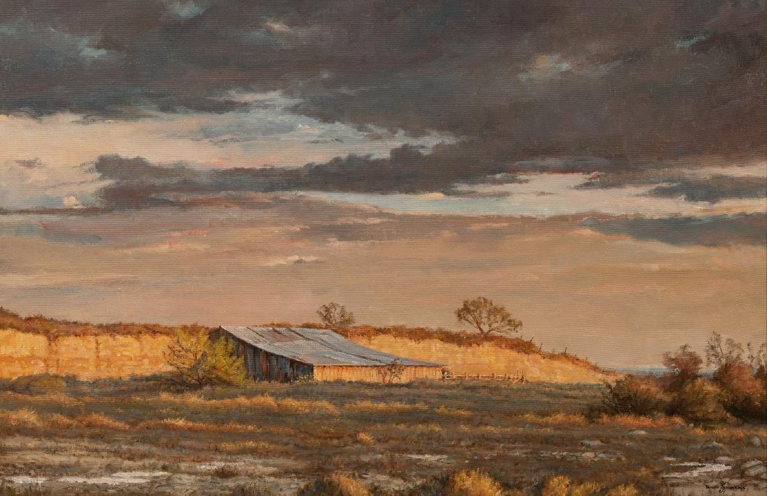 """David Sanders (1936-2013), """"Bluff-Side Barn"""" 1969, oil"""