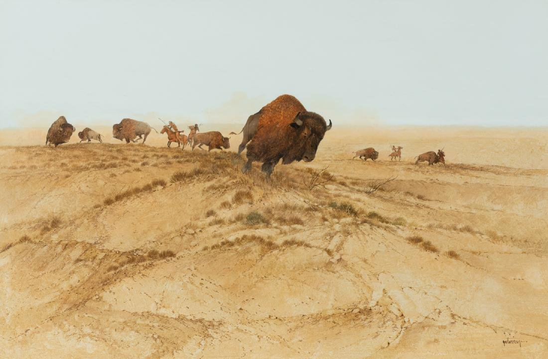 Raul Gutierrez (b. 1935), Buffalo Charge, watercolor,
