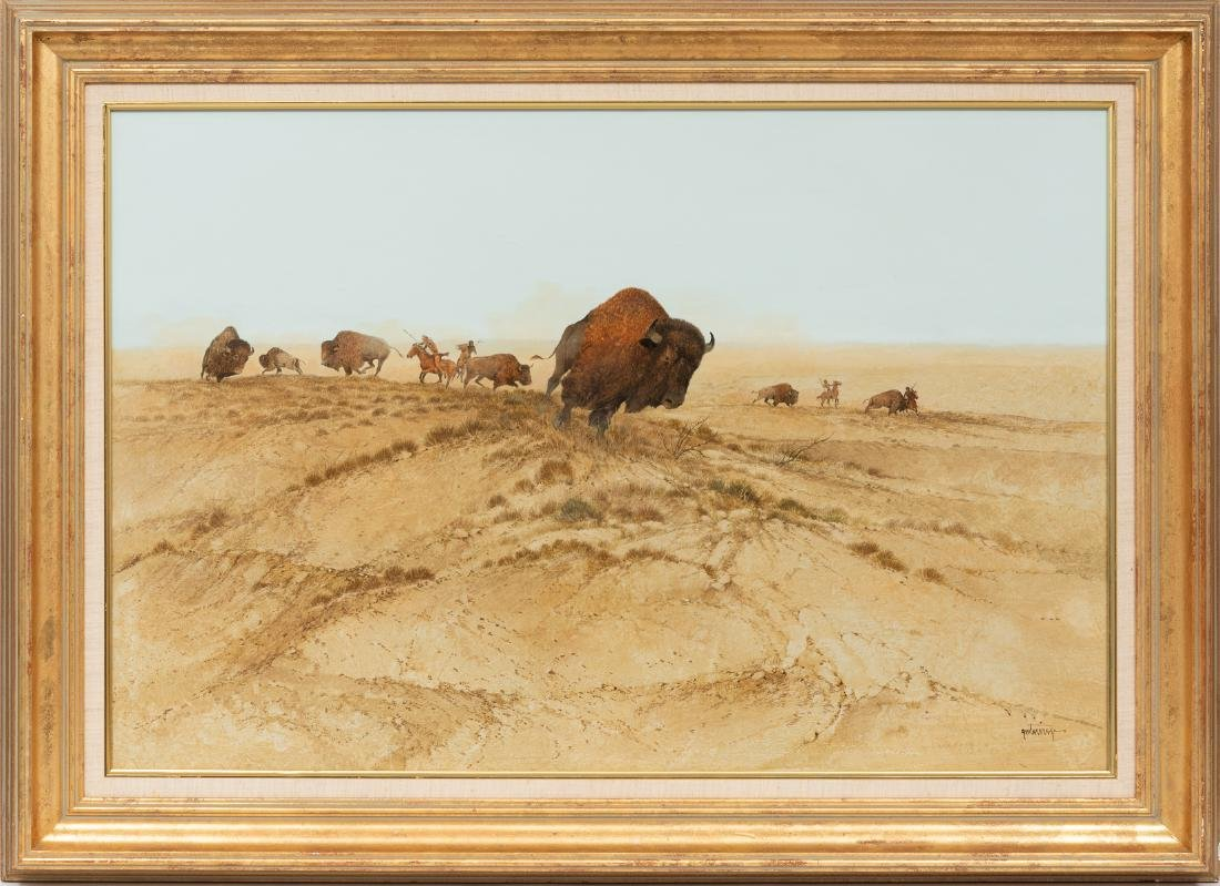 Raul Gutierrez (b. 1935), Buffalo Charge, watercolor, - 2