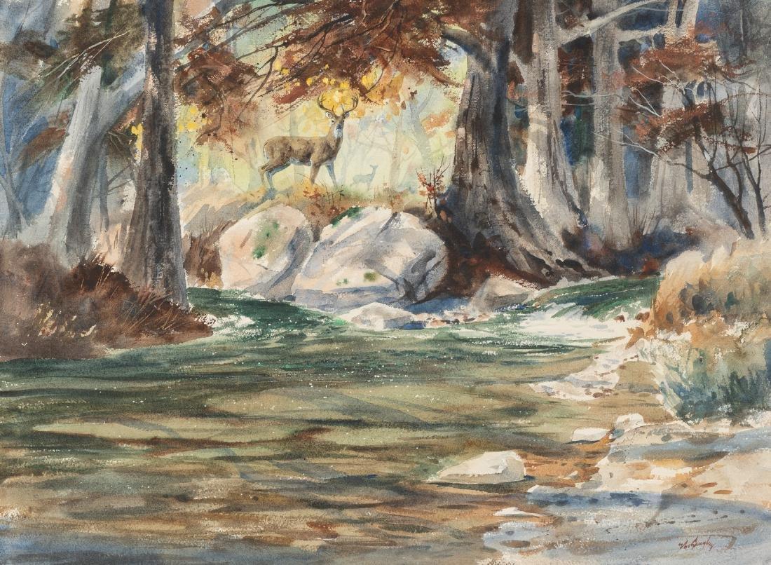 "Clay McGaughy (b. 1931), ""Junction"", watercolor"