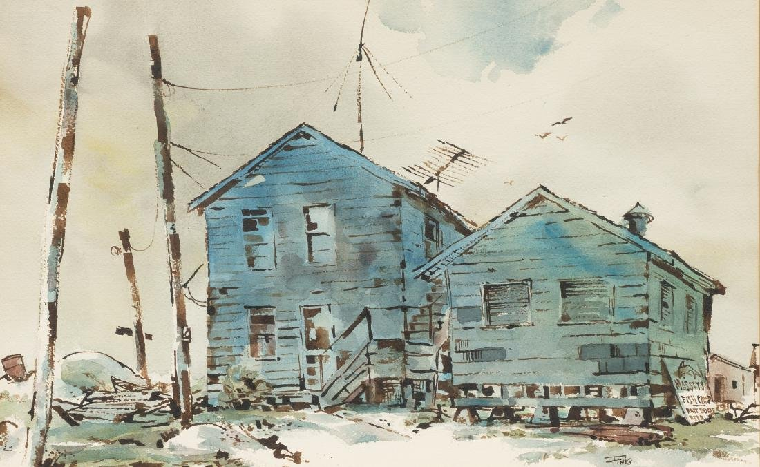 Finis Collins, Indianola Fishing Camp, watercolor,