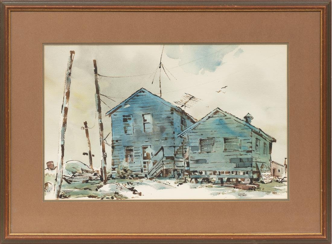 Finis Collins, Indianola Fishing Camp, watercolor, - 2