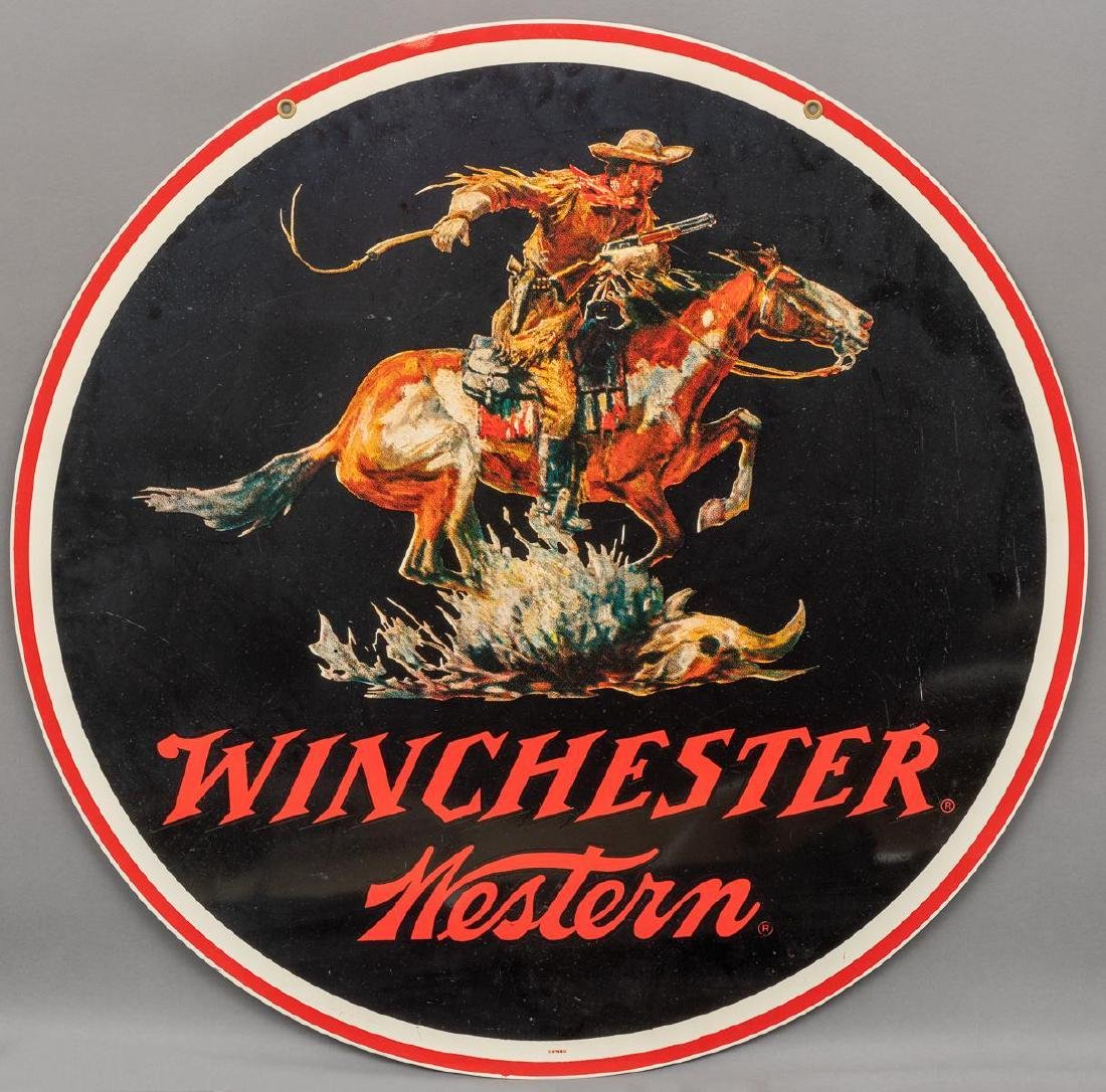 Winchester Western Large Round Sign c. 1950