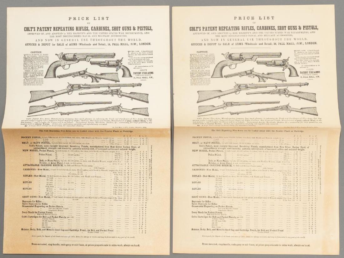(3) Printed Colt's Price List - 2