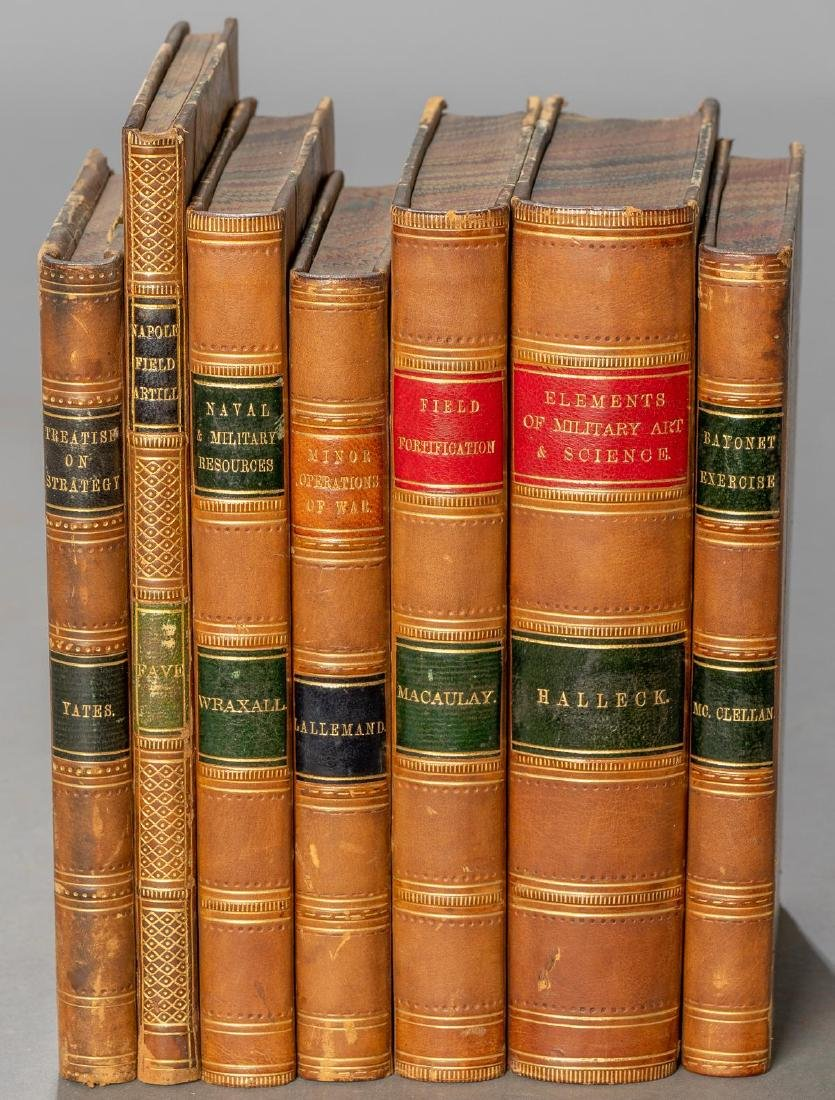 Group of 7 Leather-Bound Books on Militaria