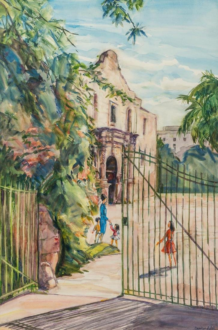 Carolyn John (1906-1996), The Alamo, watercolor