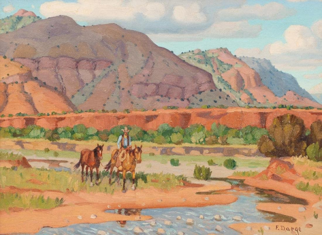 """Fred Darge (1900-1978), """"Rider and Stray Horse"""", oil"""