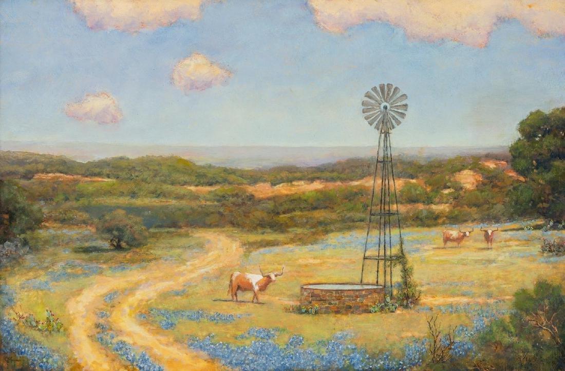 "Jerry Malzahn (b. 1946), ""At the Water Tank"", oil"