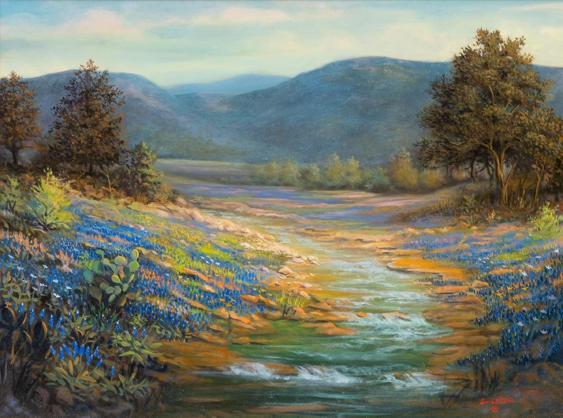 David Swantner, Bluebonnets, oil on board, 18 x 24""