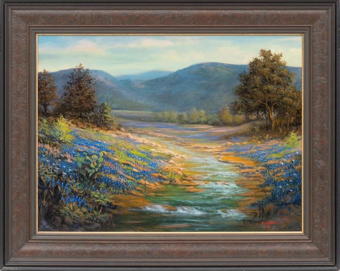 "David Swantner, Bluebonnets, oil on board, 18 x 24"" - 2"