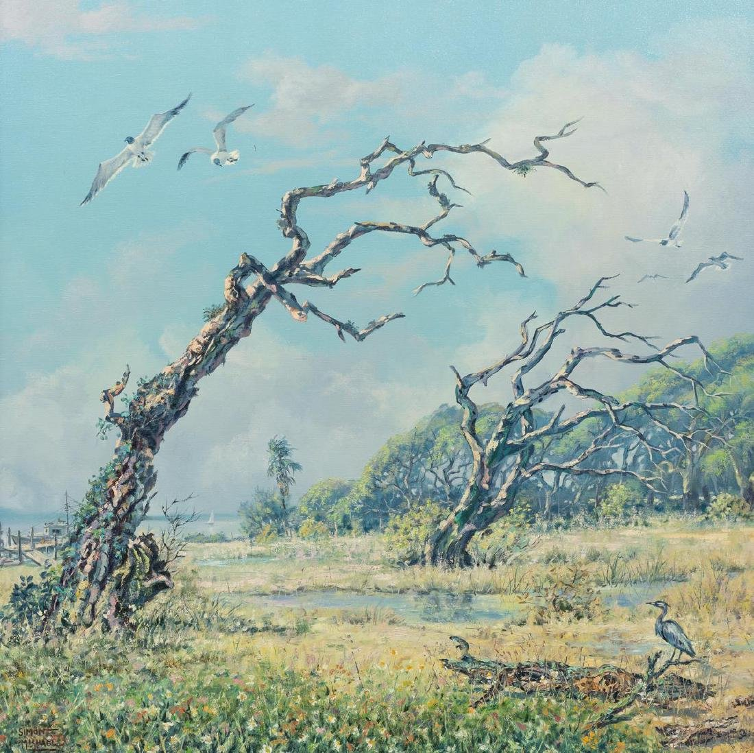 """Simon Michael (1905-2002), """"Withered Oaks"""", oil"""