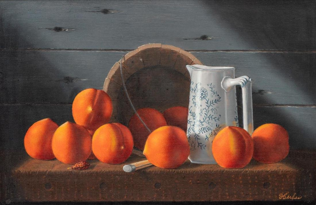 "Ed Herbes (1916-1990), ""Loring Peaches"", 1986, oil"