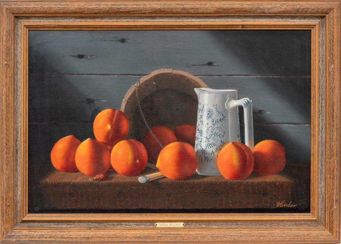 "Ed Herbes (1916-1990), ""Loring Peaches"", 1986, oil - 2"