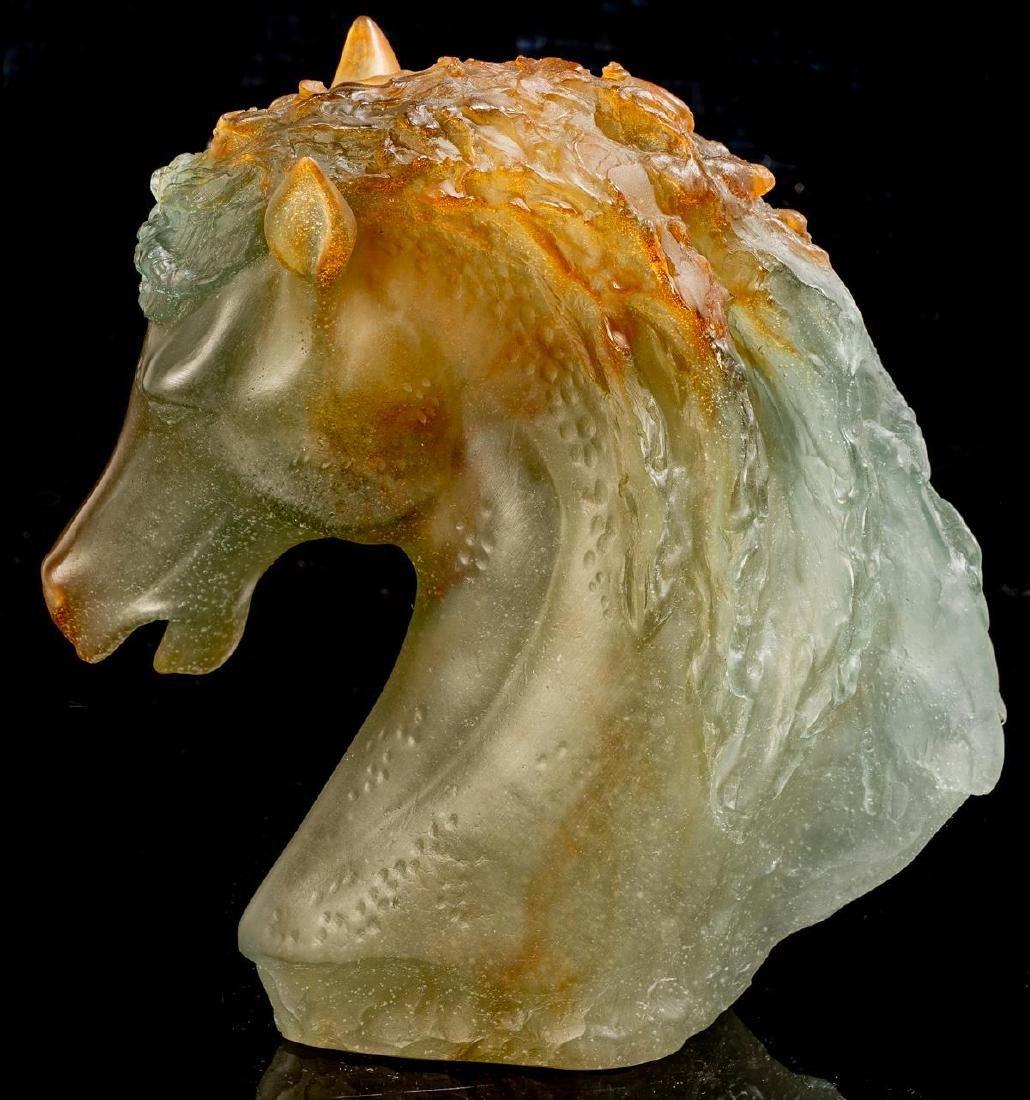 "Daum French Art Glass Pate de Verre ""Andalusian"" Horse - 3"