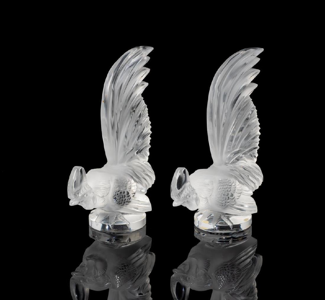 "Lalique France ""Coq Nain"" Pair Crystal Roosters"