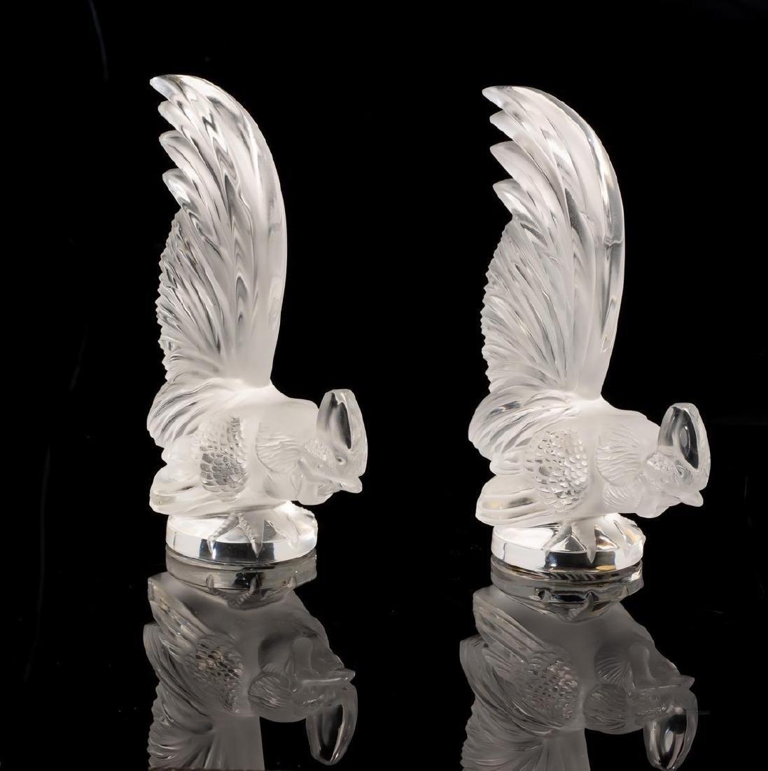 "Lalique France ""Coq Nain"" Pair Crystal Roosters - 2"