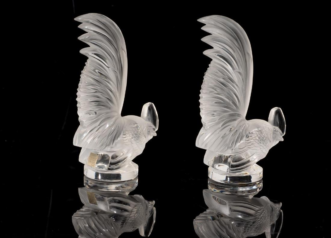 "Lalique France ""Coq Nain"" Pair Crystal Roosters - 3"