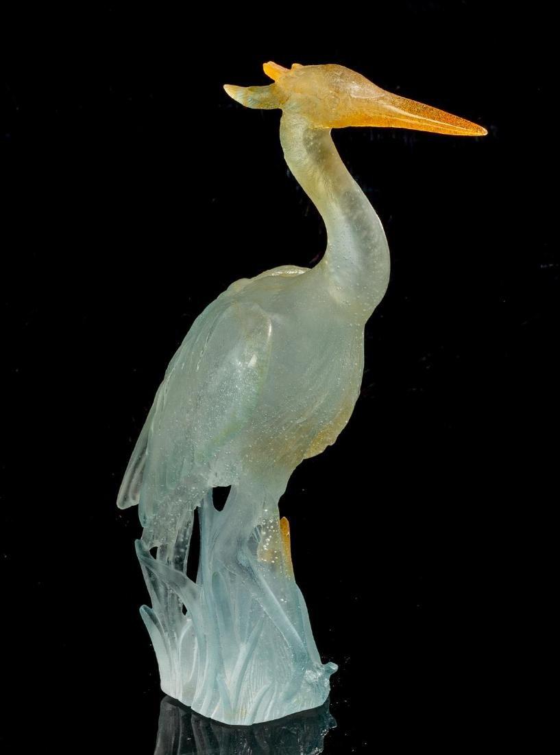 "Daum ""Great Heron"" Pate de Vere Glass Figure"