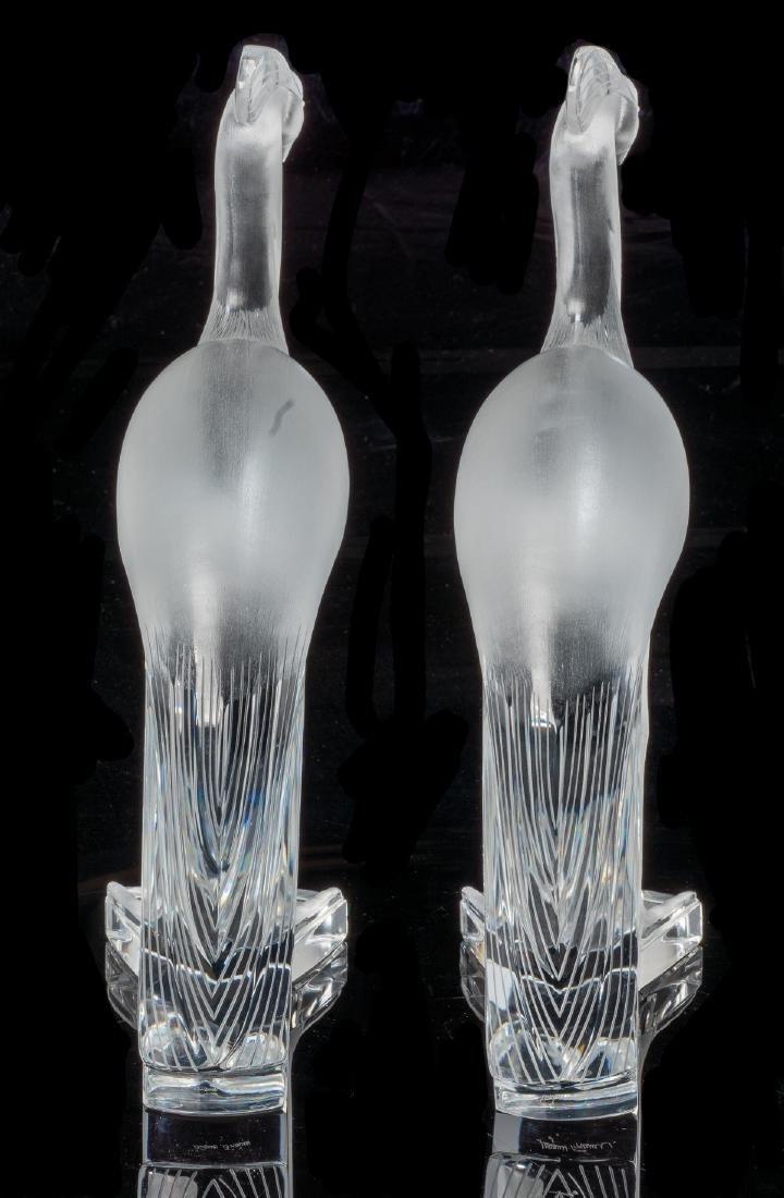 "Lalique French Art Glass ""Louisiane"" Peacock Sculptures - 5"