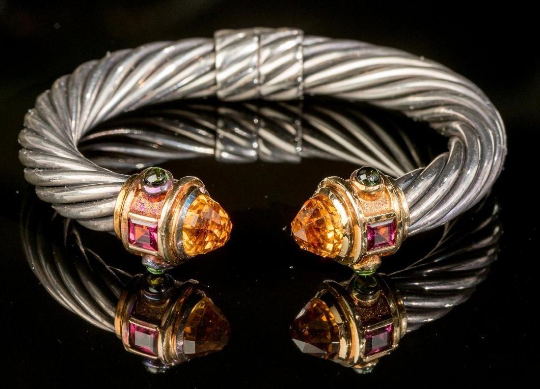 "David Yurman, ""Renaissance"", Gold/Sterling Cuff"