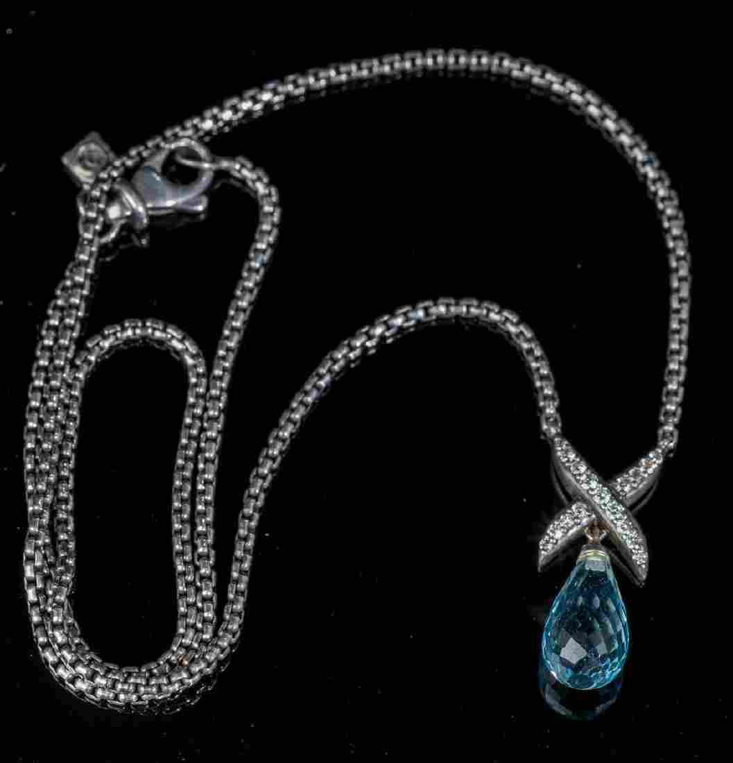 "David Yurman, Diamond ""X"" Briolette Necklace"