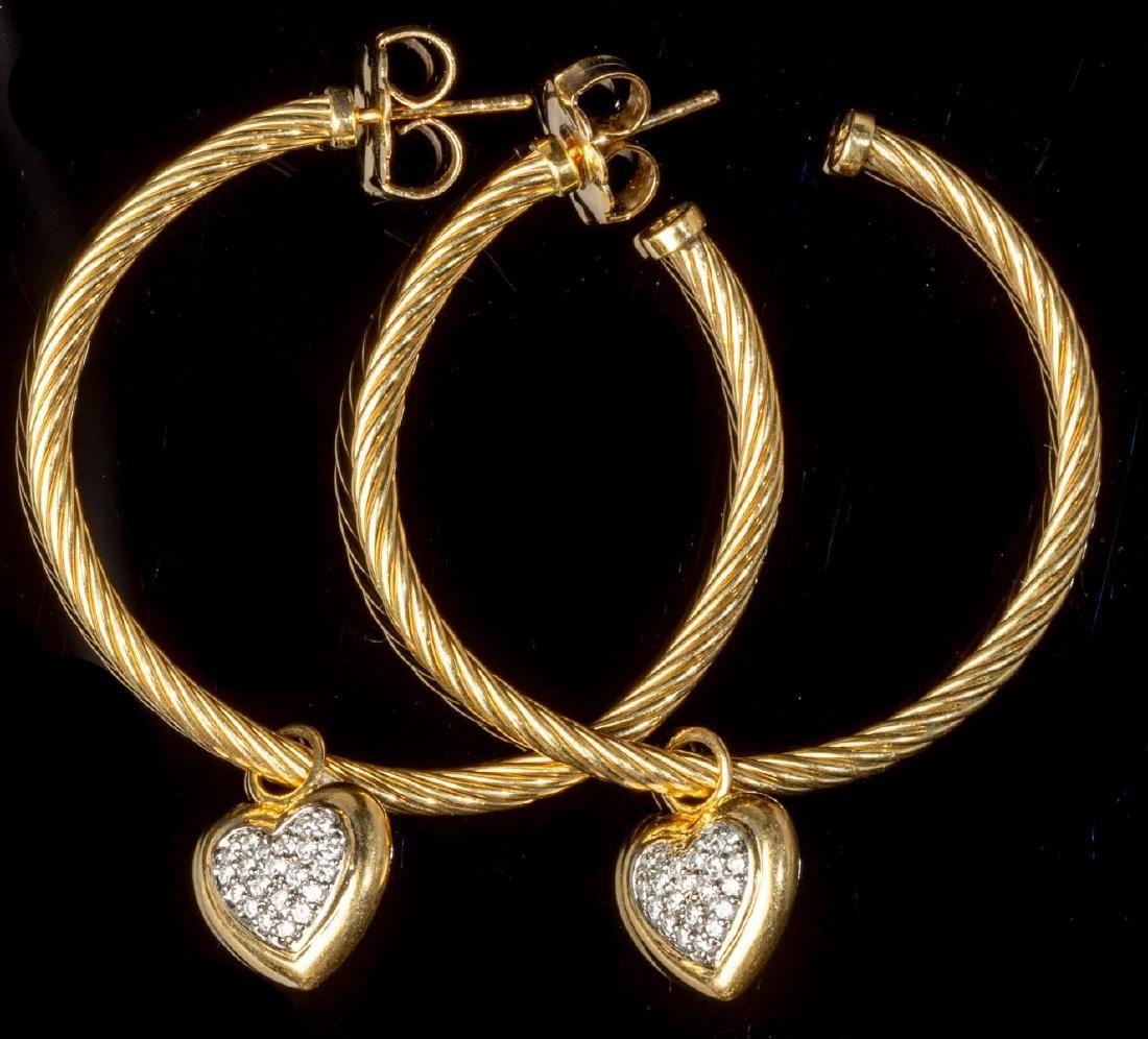 David Yurman Diamond & 18K Gold Earrings