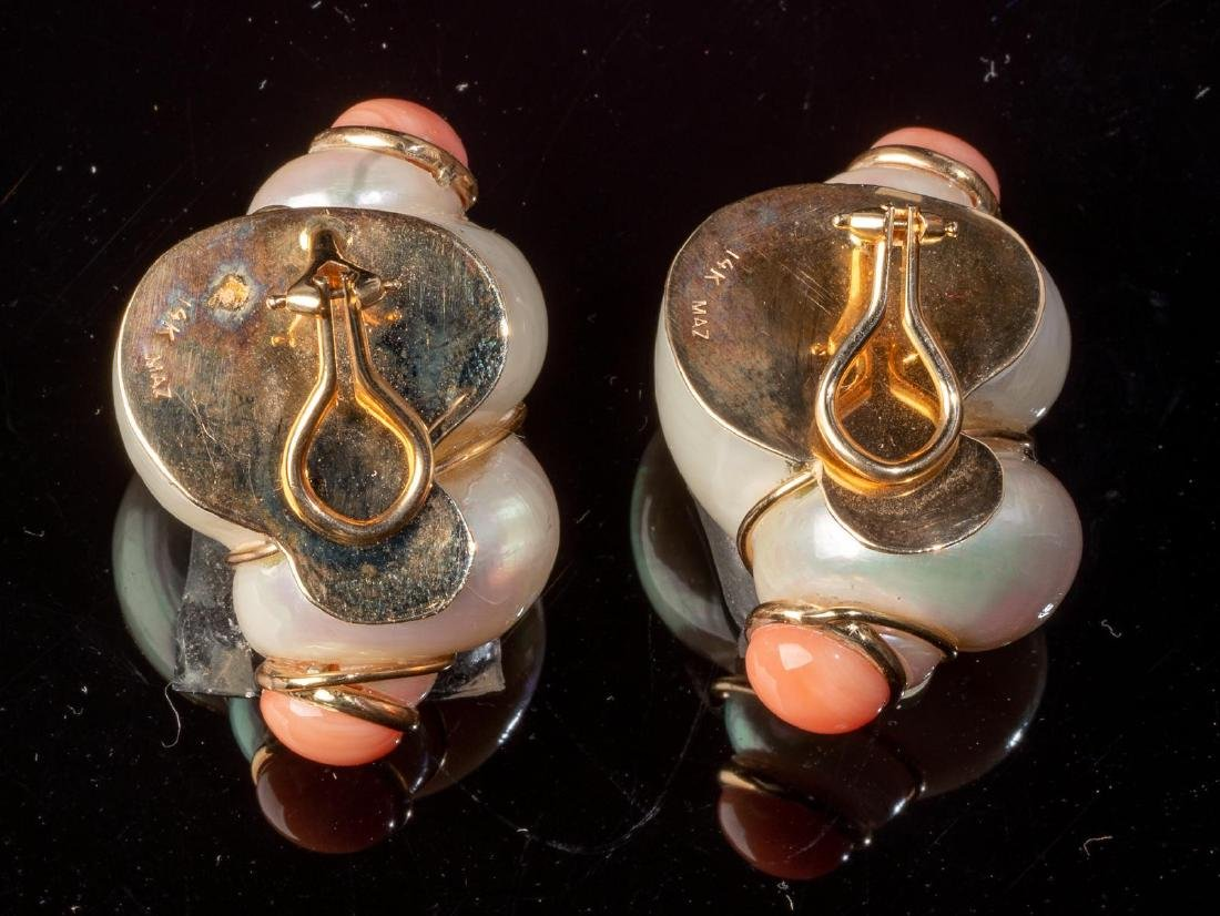 Turbo Shell & Coral MAZ Earrings - 2