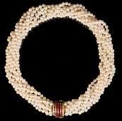 Torsade Pearl Diamond  Ruby Necklace