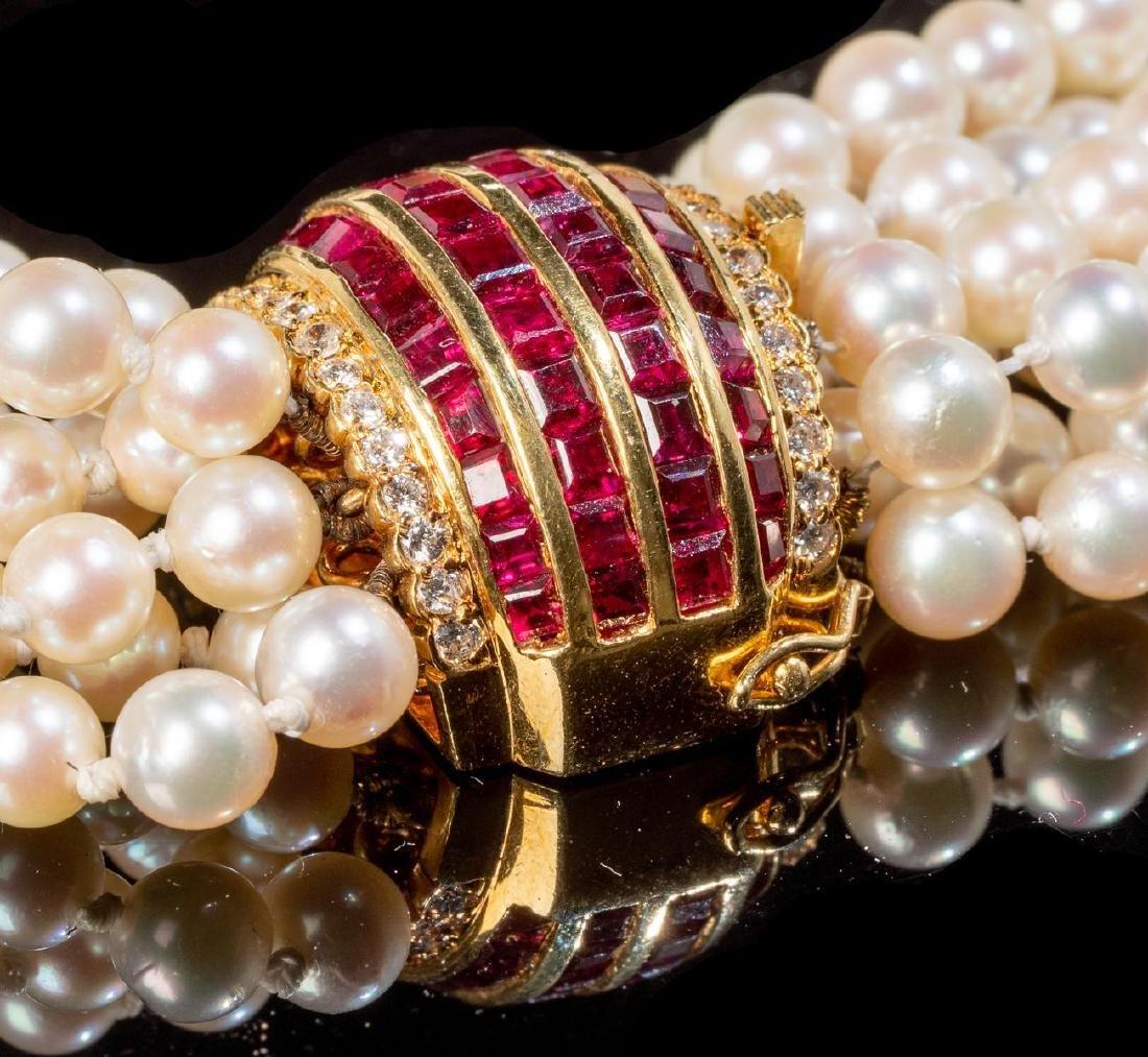 Torsade Pearl, Diamond & Ruby Necklace - 2