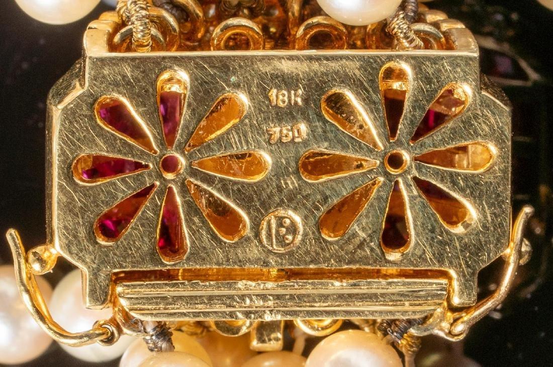 Torsade Pearl, Diamond & Ruby Necklace - 4