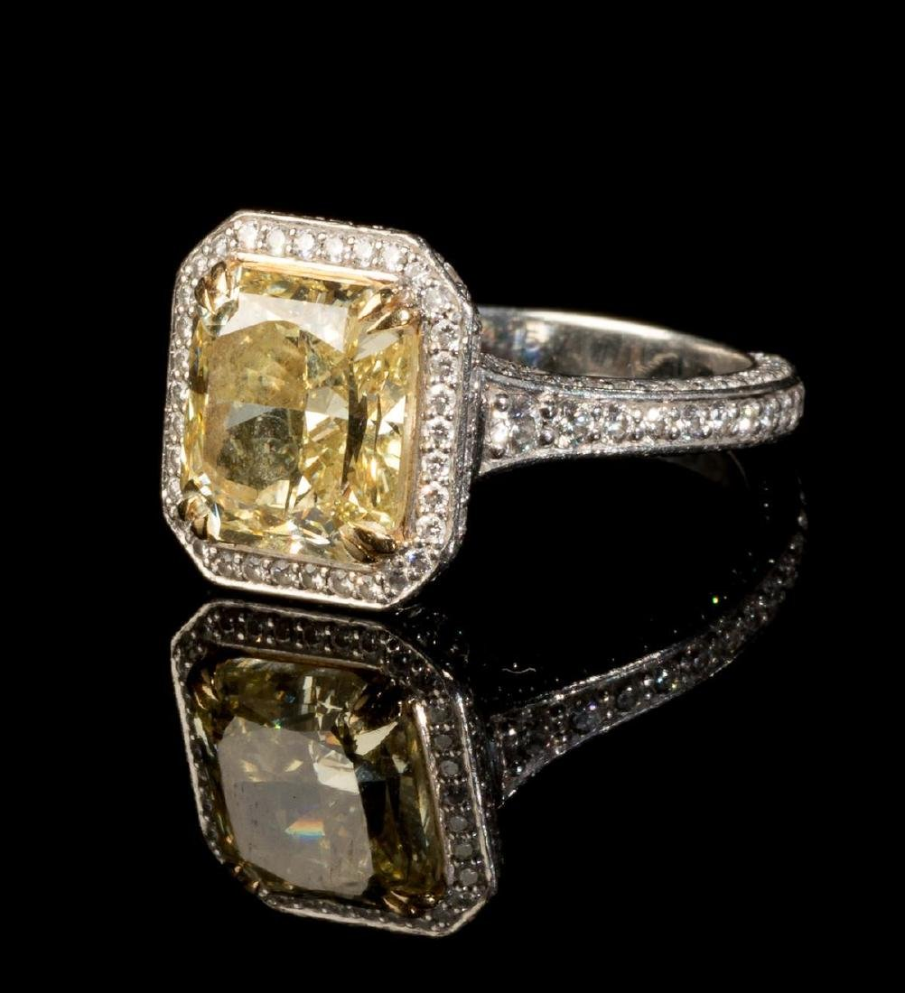 4.15 Ct. Fancy Yellow Diamond Platinum Ring GIA