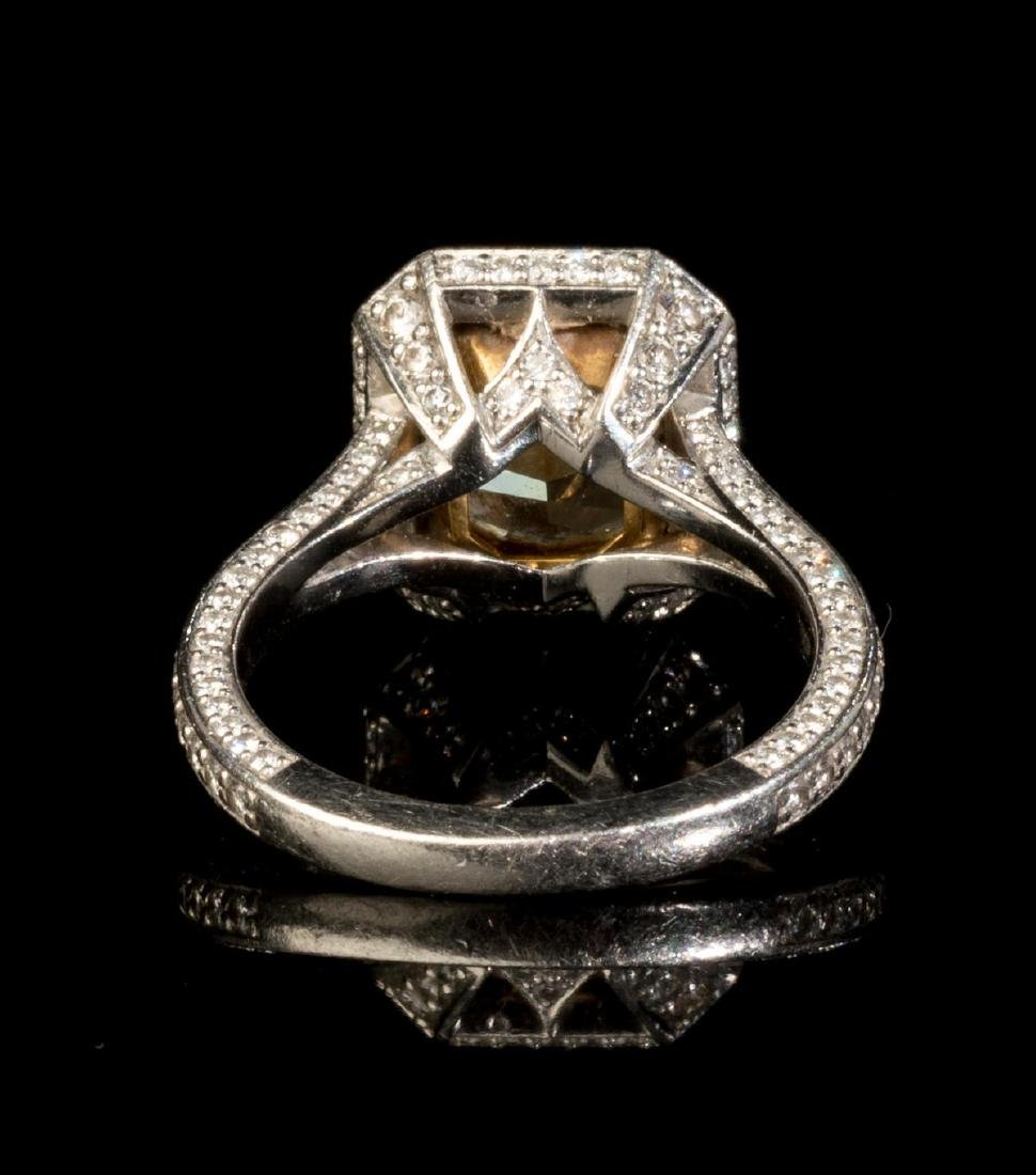 4.15 Ct. Fancy Yellow Diamond Platinum Ring GIA - 4