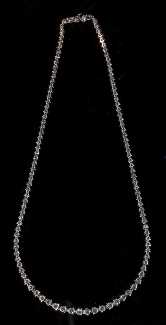 Diamond 10 Carat & Platinum Riviera Necklace - 3