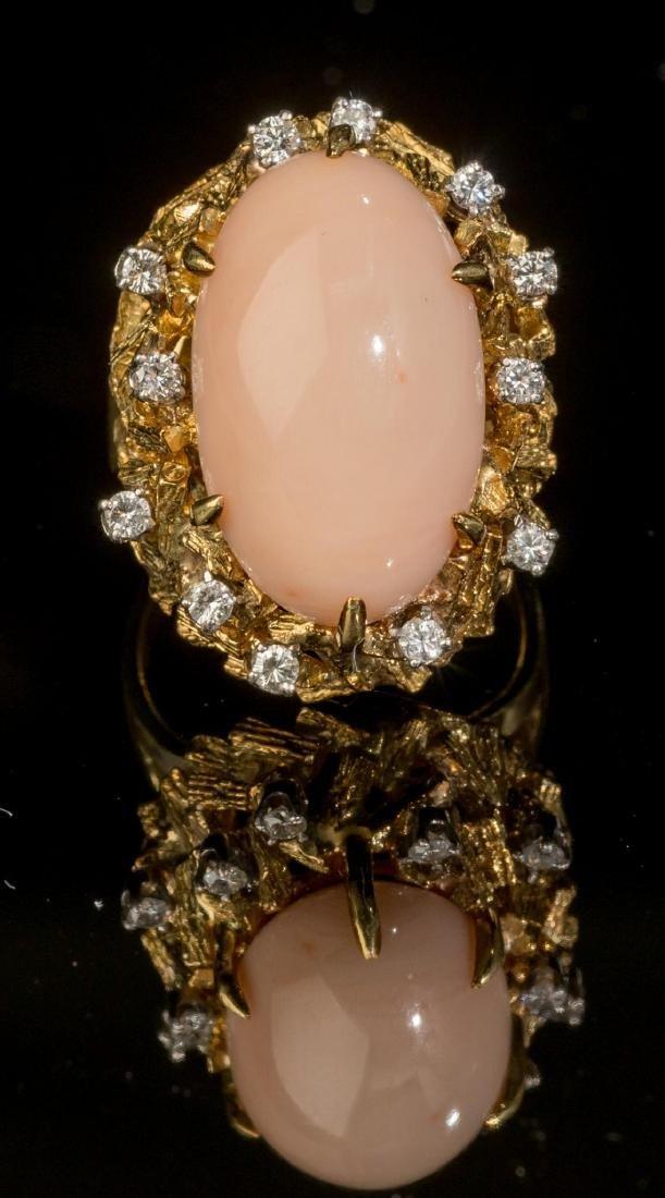 Diamond, Pink Coral & 18k Gold Ring