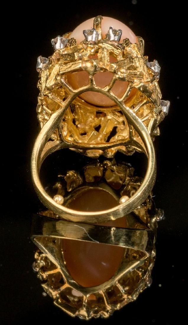 Diamond, Pink Coral & 18k Gold Ring - 3