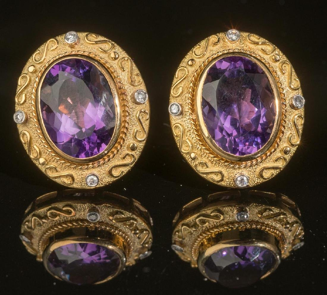 Estate Jewelry Amethyst & 18k Gold Earrings