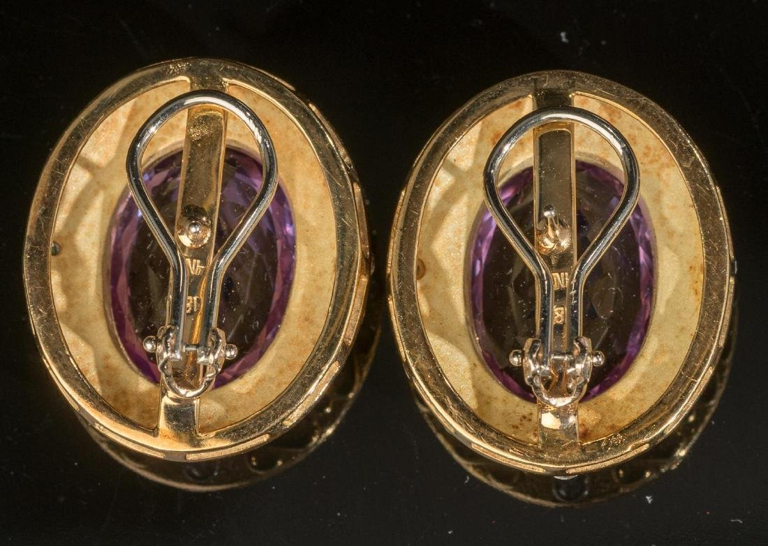 Estate Jewelry Amethyst & 18k Gold Earrings - 2